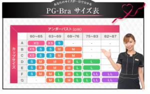PG-Braのサイズ表